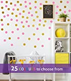 This set contains 2 inch 40 POLKA DOTS in BUBBLEGUM PINK and 2 inch 40 POLKA DOTS in GOLD (METALLIC MATT), wall art sticker decal, confetti dots, spots, for baby boys, girls nursery, beauty salon