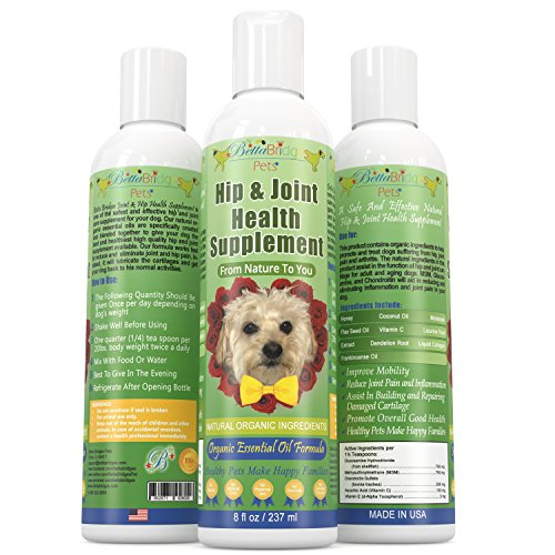 Betta Bridges Pets Liquid Glucosamine For Dogs & Cats Also Contains |Chondroitin, MSM| & Organic Frankincense Essential Oil (8 Fl. Oz.) All Natural Organic Anti-Inflammatory Nutritional Pet Supplement|Relieves Feline & Canine Arthritis, Joint Pain & Hip D
