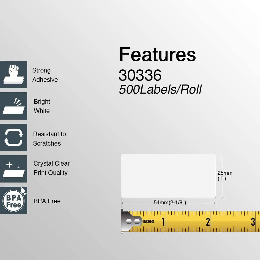 Multipurpose /& Barcode Labels 1 x 2-1//8 4XL /& Zebra Desktop Printers 16 Rolls//8000 Labels Compatible DYMO 30336 BETCKEY DYMO Labelwriter 450 Compatible with Rollo