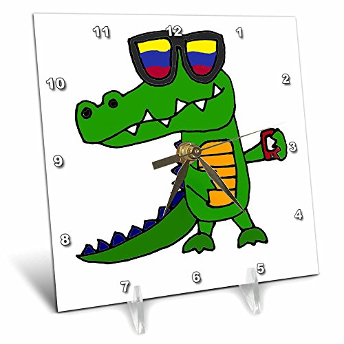 3dRose Funny Cool Alligator in Sunglasses with Cell Phone Desk Clock, 6 x - Sunglasses Alligator