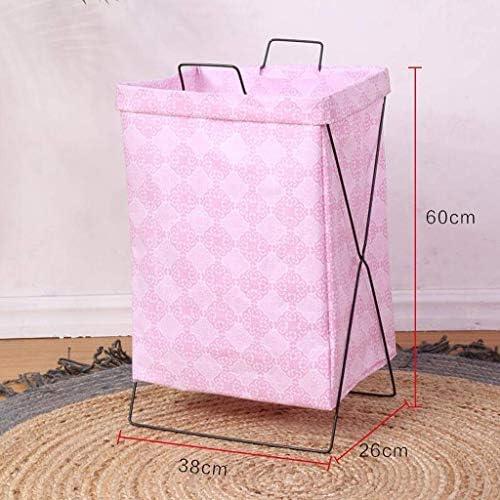MWPO Paniers à Linge Portable Pliable ménage Toile de Jute de Coton Corbeille à Linge vêtements Accessoires Divers Panier de Rangement intérieur Rose 38 * 26 * 60 cm