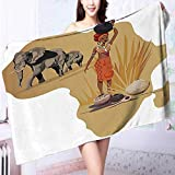 PRUNUS Ultra Soft and Absorbent Bath Towel Collection Illustration with Africa Map and Traditional Local Lady Savannah Ceremony Features Tribe for Maximum Softness