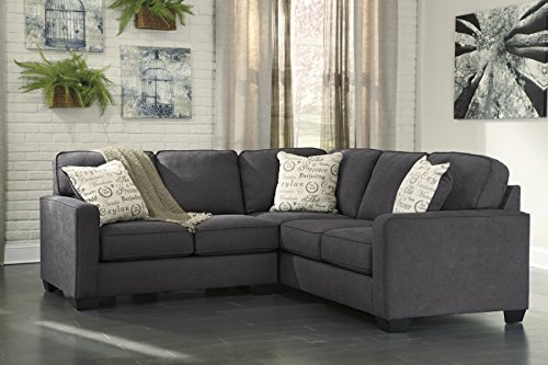 Alenya Vintage Casual Charcoal Grey Fabric Left Chaise Sectional Sofa