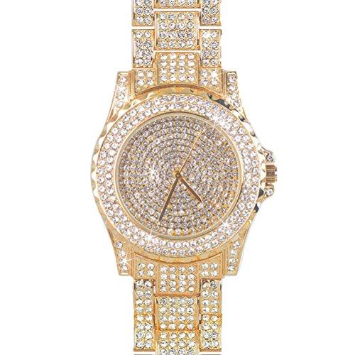 Luxury Women Watch Bling Bling Fashion Jewelry Crystal Diamond Rhinestone Ladies Watches Steel Band Round Dial Analog Clock Classic Quartz Female Charm Bracelet Dress Wristwatches (Rose Gold) from ARMRA