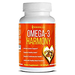 Reborn Labs Omega 3 EPA DHA Fatty Acids Supplemen Improves Cardiovascular Health, Brain Function, Skin Health & Many More, 120 Softgels