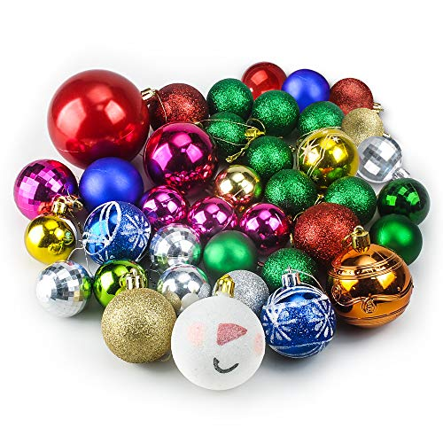 TIOVERY Christmas Ornaments Ball 38 Piece Different Size Colorful Christmas Decorations Tree Balls for Holiday Wedding Party Decoration