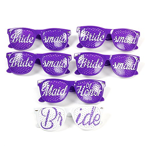 Bridal Bachelorette Party Favors Brides Maid Wedding Purple Sun Glasses - 6 Pce - Wedding Beach Sunglasses