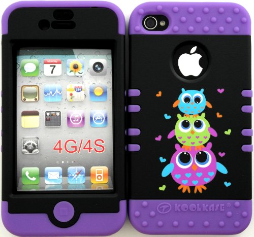 Bumper Case for Apple iphone 4 4G 4S Three Cute Owls hard plastic snap on over Purple Silicone Gel
