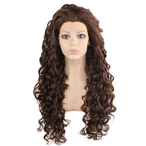 Mxangel Long Curly Lace Front Synthetic Wig Brown Heat Resistant Wig Natural (Wig Brown Angel)