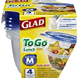 Glad Food Storage Containers, To Go Lunch, 32 Ounce, 4 Count (Pack of 3)