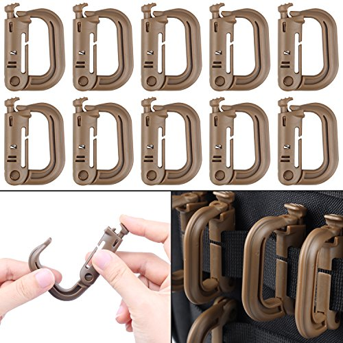XTACER Tactical Multipurpose D-Ring Locking Hanging Hook Tactical Link Snap Keychain for Molle Webbing (Coyote Brown-Button Release (10-Pack))