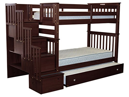 Bedz King Tall Stairway Bunk Beds Twin over Twin with 4 Drawers in the Steps and a Twin Trundle, Cappuccino