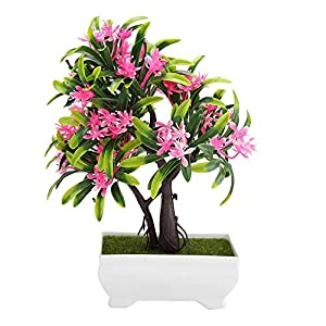 GLOGLOW Artificial Bonsai Flower Pot Fake Silk Flower Tree Plant for Wedding Holiday Home Decor 12