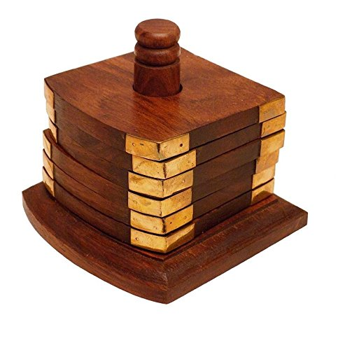 Crafts'man PREMIUM QUALITYBeautiful Handmade Retro Wooden Coaster Set (Craftsman Style Patio)