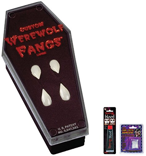 Werewolf Fangs In Coffin (Bundle: 3 Items - Fangs Werewolf in Coffin and Free Tube of Blood AND Adhesive)