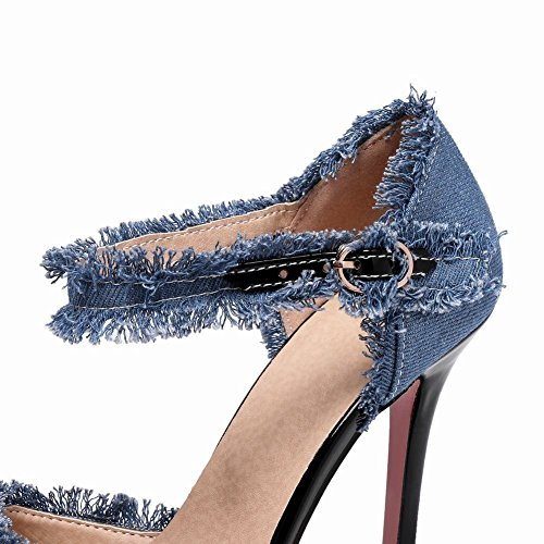 YE Damen Ankle Strap Denim Pumps Spitze Stiletto High Heels mit Riemchem und 10cm Absatz Elegant Schuhe Hellblau