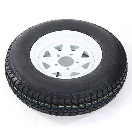 Bias ST175/80d13 trailer tire and wheel 13'' White Spoke Trailer Wheel (5x4.5) bolt circle Pack of 2 by Motorhot (Image #3)