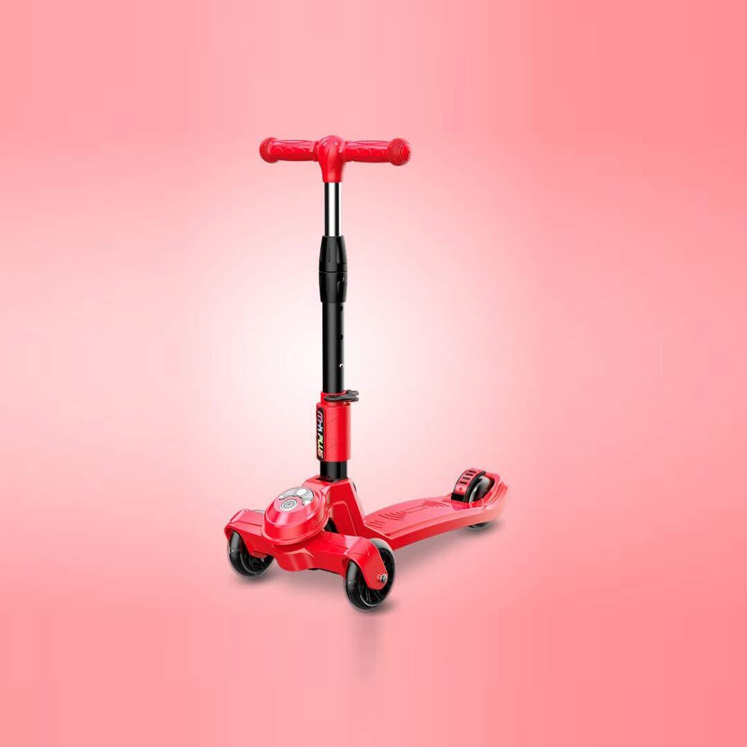 【激安大特価!】  TLMYDD スクーター子供用スクーターフラッシュ折りたたみ式三輪スライド、28x60x83cm 子供スクーター (色 : B07NN1DMQ7 Red) (色 : B07NN1DMQ7 Red, TALBOTS OUTLET SHOP:7893f16c --- a0267596.xsph.ru