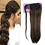 VeSunny 14inch Hair Extensions Clip in Ponytail Human Hair Ombre Balayage Color #2 Darkest Brown Fading to #6 Medium Brown Mixed Brown Clip in Ponytail Hair Extensions Human Hair 80G/Set