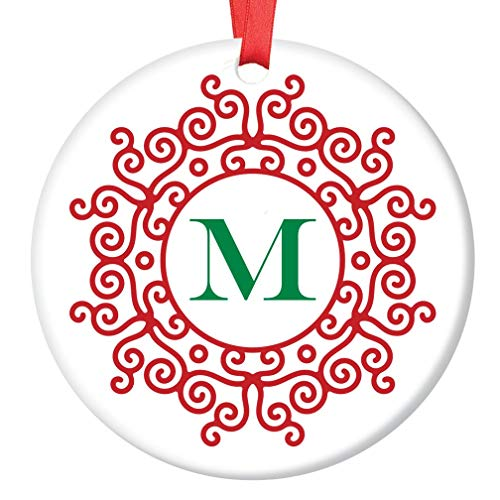 M Initial Christmas Ornament for Family Surname