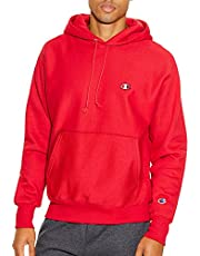 Champion LIFE Men's Reverse Weave Pullover Hoodie, Team Red Scarlet/Left Chest C Logo Large