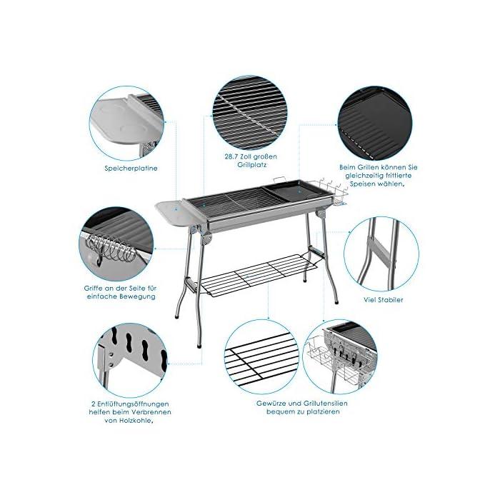 【MATERIAL DE ALTA CALIDAD】Fabricado en acero inoxidable de alta calidad. Tiene una excelente resistencia al óxido y a la deformación y es duradero. 1.La parrilla de carbón, que está hecha completamente de metal, puede calentarse rápidamente.2.Hay 2 rejillas en la parte inferior del cuerpo de la parrilla para permitir que el aire escape desde abajo. 【FÁCIL DE CARGAR】Nuestra parrilla de carbón es muy ligera, fácil de instalar y quitar. Puede plegarse y, por lo tanto, guardarse y transportarse de manera flexible. Los mangos a ambos lados del cuerpo de la parrilla le permiten llevarlo fácilmente desde el almacén al jardín trasero. Al salir, se puede colocar fácilmente en el maletero del automóvil, lo cual es muy conveniente para transportar y transportar. 【MULTIFUNCIONAL Y ESTABLE 】La superficie es agradable, la rejilla se divide en dos partes (una es más grande y la otra un poco más pequeña). Juntos forman la superficie de la parrilla, por lo que puede separar las rejillas de verduras y carne entre sí. La parrilla para acampar tiene una bandeja antiadherente (más pequeña), por lo que puede usarse para asar y asar a la parrilla. El dispositivo de plegado es lo suficientemente estable, el marco de la parrilla está equipado con pies reforzados, lo