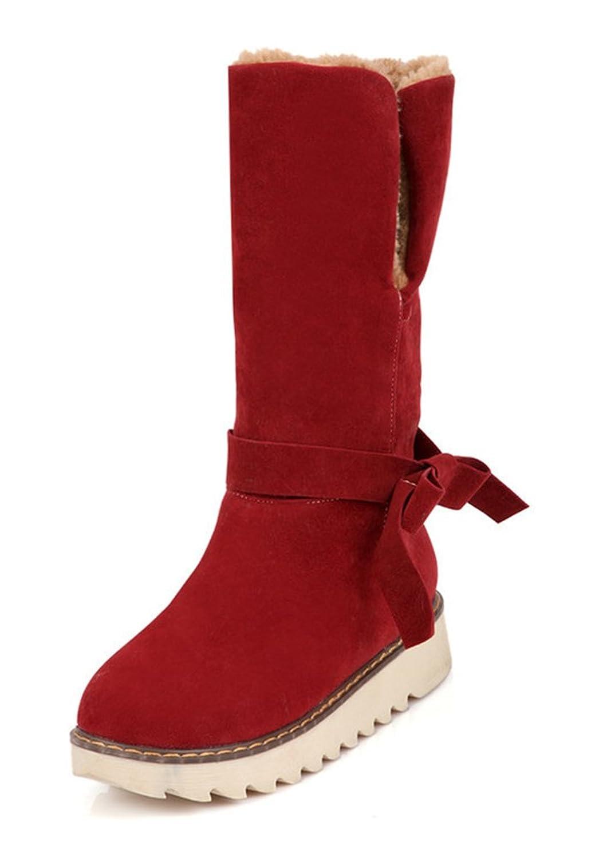 Aisun Women's Cute Warm Bowknot Round Toe Slip On Platform Flats Winter Snow Ankle Booties