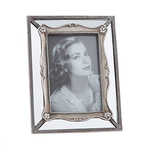 Marco de Fotos con Espejo Luxury Plateado de Resina Espejo para Foto de 10x15 cm - LOLAhome
