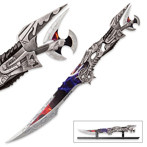 K EXCLUSIVE Dark Night Steampunk Fantasy Sword with Display Stand