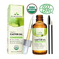 Organic Castor Oil - USDA Certified Organic 100% Pure, Cold-Pressed, Extra-Virgin, Hexane-Free. Best Treatment For Eyelashes, Hair, Eyebrows & Skin - Boosts Growth Instantly - with Applicator Kit