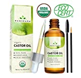 growth Organic Castor Oil - USDA Certified Organic 100% Pure, Cold-Pressed, Extra-Virgin, Hexane-Free. Best Treatment For Eyelashes, Hair, Eyebrows & Skin - Boosts Growth Instantly - with Applicator Kit