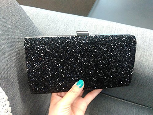YYY WLQ Cross Bag - Diamond Shoulder Bag - Imitation Diamond Hand Bag - Bolso de fiesta para mujer - Bolso de mano - Bolso de novia,Dorado,bolso Negro 1