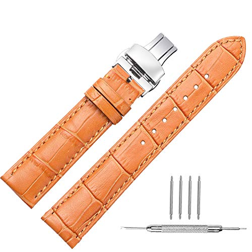 Watch Band Leather Strap Replacement 14mm 16mm 18mm 19mm 20mm 21mm 22mm 24mm Calf Wrist Watchband Deployment Buckle Deployant Clasp -