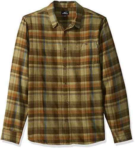 - O'Neill Men's Flannel Long Sleeve Woven Casual Button Down Shirt, Army, M