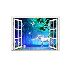 Home decoration DIY Home Mural Art 3D Window View Wall Sticker Forest White Horse Wall Decals Living Room Bedroom Wall Decors Stickers