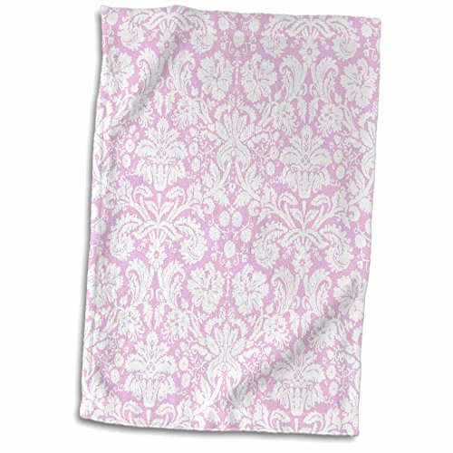 3dRose InspirationzStore Damask patterns - Light pink and white damask pattern - pastel delicate girly Victorian fancy vintage elegant swirls - 15x22 Hand Towel (twl_151452_1)
