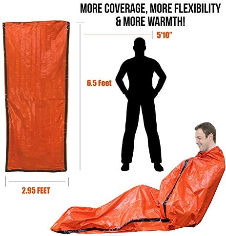 Emergency Sleeping Bag Poncho-Thermal Bivvy Use as Emergency Bivy Sack,Survival Sleeping Bag,Mylar Emergency Blanket,Emergency Raincoat-Include Stuff Sack with Survival Whistle for Camping,Hiking