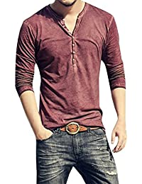 Mens Summer Casual V-Neck Button Cuffs Cardigan Long Sleeve T-Shirts