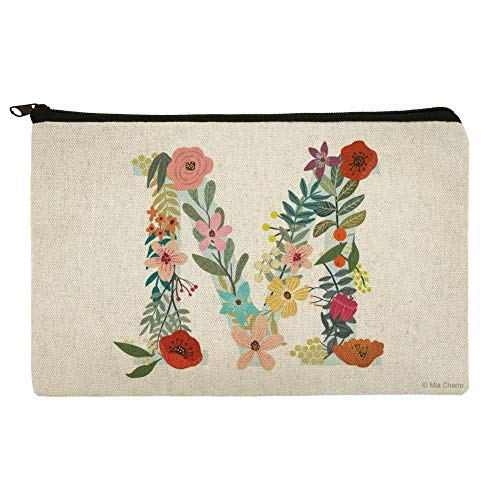 Letter M Floral Monogram Initial Makeup Cosmetic Bag Organizer Pouch