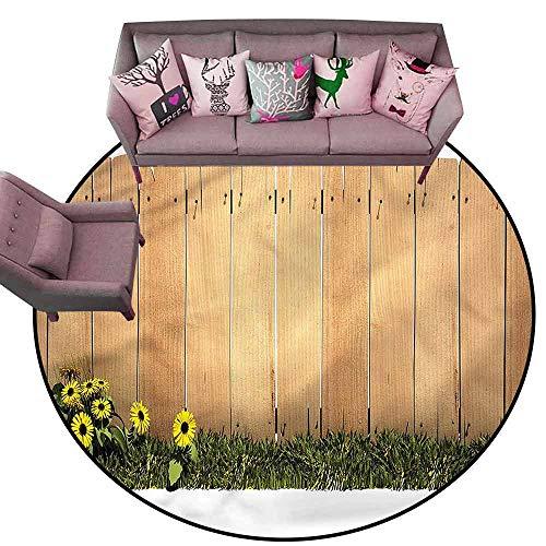 Slip-Resistant Washable Entrance Doormat Farmland,Yellow Daisies Garden Art Diameter 66