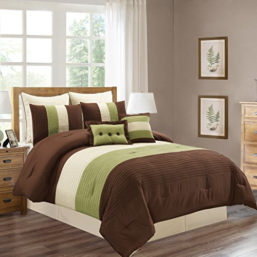 8 Piece QUEEN Size SAGE GREEN / BROWN / BEIGE Pin Tuck Stripe Regatta Goose Down Alternative Comforter set 90