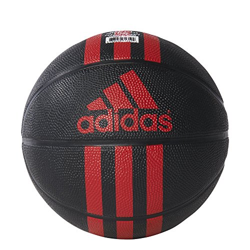 (adidas 3-Stripes Mini Basketball, Black/Red, Size 3)