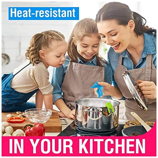 Kitchen Dreamszi-Silicone Lid Lifters, Spill-proof Pot Pan Saucepan Lid Holder, Stand Heat Resistant Holder, Air Circulation and… pot lid holders