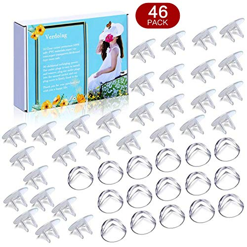 Baby Proofing(46-PACK),16 Corner Guards, Corner Protection Prevents Children from Getting Hurt by Furniture. 30 Outlet Plugs Covers, Outlet Covers is a Good way to Protect Children from Electric Shock