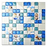 glass tile bathroom  Glass Conch Tiles Beach Style Sea Blue Glass Tile Glass Mosaics Wall Art Kitchen Backsplash Bathroom Design