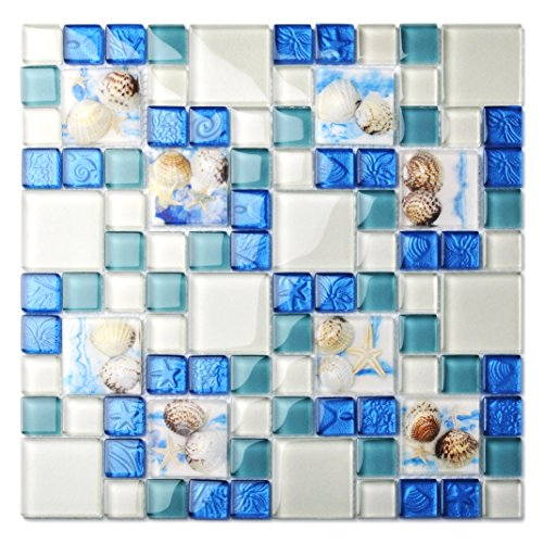 - TST Mosaic Tiles Glass Conch Tiles Beach Style Sea Blue Glass Tile Glass Mosaics Wall Art Kitchen Backsplash Bathroom Design (5 PCS [12'' X 12''/Each])
