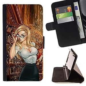 BullDog Case - FOR/Samsung Galaxy S5 Mini, SM-G800 / - / librarian secretary glasses babe hot chick /- Monedero de cuero de la PU Llevar cubierta de la caja con el ID Credit Card Slots Flip funda de cuer