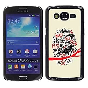 Ihec Tech Cuervo Cuervo Negro Pájaro Poema Edgar Poe / Funda Case back Cover guard / for Samsung Galaxy Grand 2