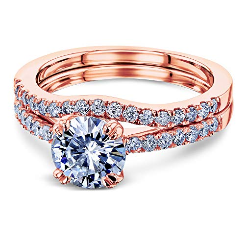 1-2/5ct.tw Double Prong Solitaire Moissanite and Side Stone Mounting Classic Bridal Rings Set 14k Rose Gold (DEF/VS, GH/I1-I2), 10