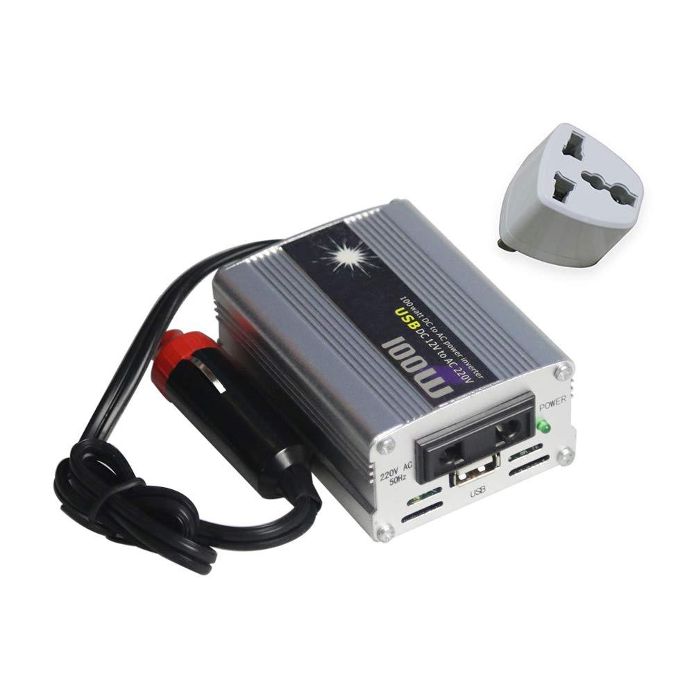 Ajcoflt Inverter di Potenza Convertitore di Potenza per Veicoli Onda sinusoidale modificata Universale 100W DC 12V a 220V AC